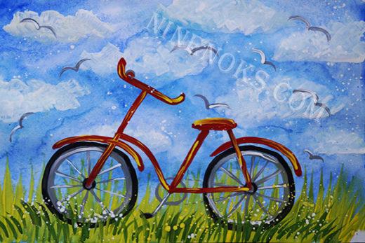 велосипед. рисунок. 4+
