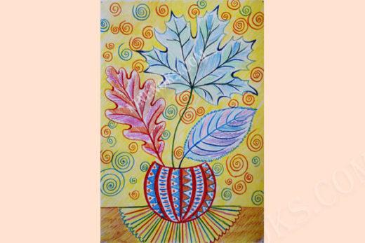 листья в вазе. графика. 7+