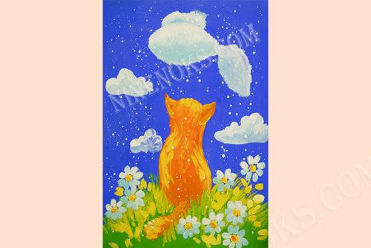 кошка. рисунок