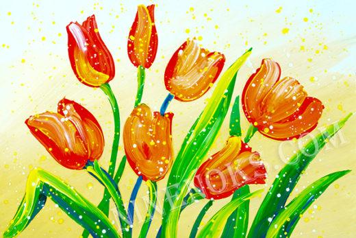 тюльпаны. рисунок. 7+