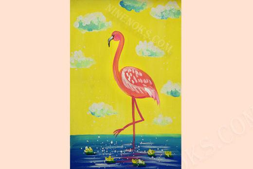 фламинго. рисунок. 5+