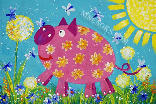 свинка. рисунок. 4+