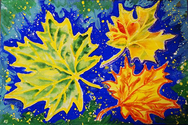 кленовые листья. риснок. 3+