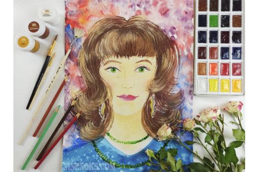 портрет мамы. гуашь. рисунок