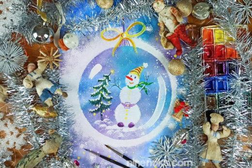 Снеговик в шаре. рисунок. акварель
