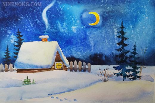 зимний пейзаж. акварель.8+