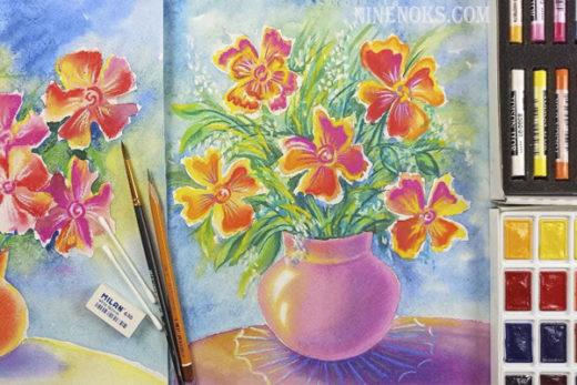 Букет цветов. рисунок 8+