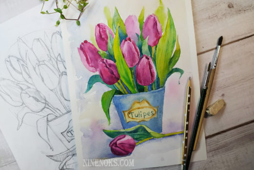 тюльпаны. урок акварель.