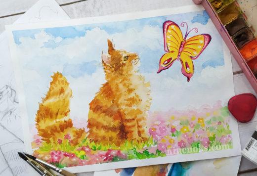 Кот. Кошка. Уроки рисования. Найннокс