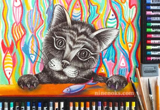 Кошка. Кот. Графика. Уроки рисования. Найннокс